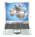 gear cogs flying out of laptop screen concept vector image vector image