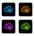 glowing neon cryptocurrency cloud mining icon vector image