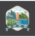 grunge label of beer glass with mountains vector image