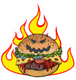 halloween burger in flames hell hot food vector image vector image