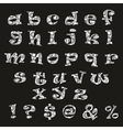 Handdrawn black-and-white alphabet vector image