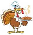 Happy Turkey Chef With Pumpkin Pie vector image vector image
