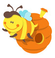 isolated bee and beehive vector image vector image