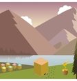 Mountain landscape with beehives vector image