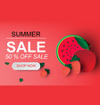 paper art of summer sale banner with vector image vector image