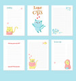 planner template with cute pet cats vector image vector image