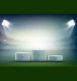 podium for sports awards at the stadium vector image vector image