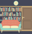Reading Seat In Front Of A Huge Bookcase vector image vector image