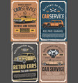 retro cars with spare parts garage service vector image vector image