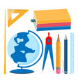school supplies set textbooks globe pointer vector image