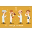 Set of four scientist characters vector image
