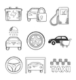 Sketched car service and transportation icons vector image
