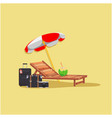 summer beach umbrella chair baggage coconut yellow vector image