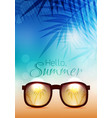 Summer poster with sunglasses palms and