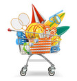 supermarket cart with beach accessories vector image vector image