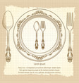 table setting vintage poster design vector image vector image