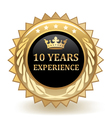 Ten Years Experience Badge vector image vector image