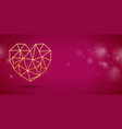 valentines day banner with with gold heart vector image vector image