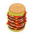Very large hamburger High juicy tall burger Huge vector image