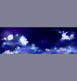 white clouds in shape cute animals in night sky vector image