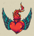 winged fiery red heart concept vector image