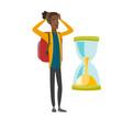 worried african traveler man looking at hourglass vector image vector image
