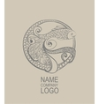 Logo Doodle fish Hand drawn vector image