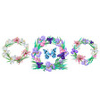 romantic floral collection of wreaths with vector image