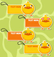 Four cute cartoon Ducks stickers vector image