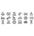assembly line icons set outline style