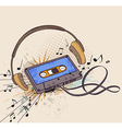 audio cassette and headphones vector image
