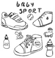 Baby shoes set sketch handdrawn isolated on white vector image vector image