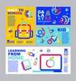 back to school online learning layout template vector image