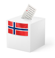 Ballot box with voicing paper Norway vector image vector image