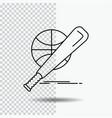 baseball basket ball game fun line icon on vector image vector image