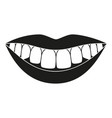 black and white healthy smile silhouette vector image