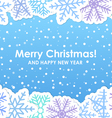 Blue christmas greeting card with paper flakes