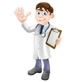 cartoon doctor holding clipboard vector image vector image