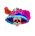 catrina skull day dead isolated on white vector image vector image