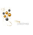 christmas background with gold baubles and vector image