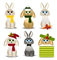 christmas rabbits set vector image