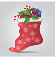 Christmas sock on gray background vector image vector image