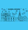 colombia cartagena winter holidays skyline merry vector image vector image