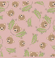 cute bear teddy and leafs pattern background vector image vector image