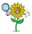 detective sunflower character cartoon style vector image vector image