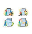 development mobile application collection vector image