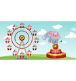 Elephant show and ferris wheel at the funpark vector image vector image