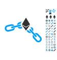 ethereum broken chain icon with bonus pictograms vector image vector image