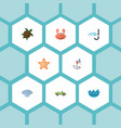 flat icons sea star cancer aqualung and other vector image vector image
