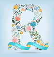 floral letter r with blue ribbon vector image vector image